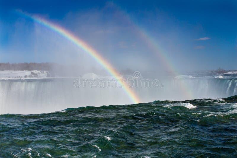 Cascate del Niagara con un doppio arcobaleno immagini stock libere da diritti