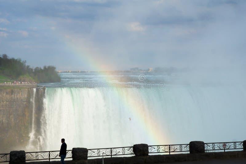 CASCATE DEL NIAGARA, ONTARIO, CANADA - 21 maggio 2018: Arcobaleno spettacolare sul lato canadese del cascate del Niagara con il f fotografia stock