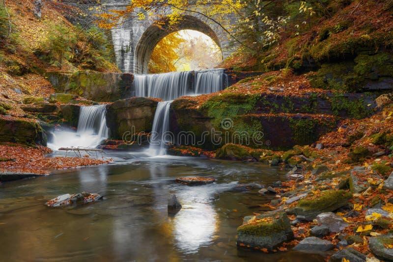 Cascate di autunno vicino a Sitovo, Filippopoli, Bulgaria Belle cascate di acqua con le foglie gialle cadute fotografie stock