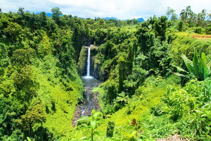 Cascate incontaminate in mezzo alla giungla tropicale di Upolu, isola di Upolu, cadute di Sopoaga nei Samoa, Polinesia Pacifico c fotografia stock libera da diritti