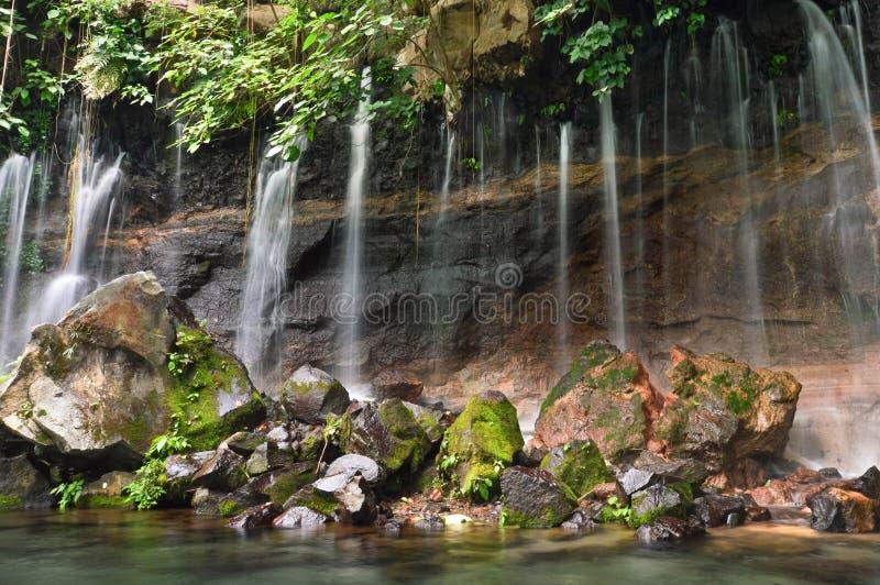 Cascate in Juayua, ruta de Las Flores di Chorros de la Calera  fotografia stock