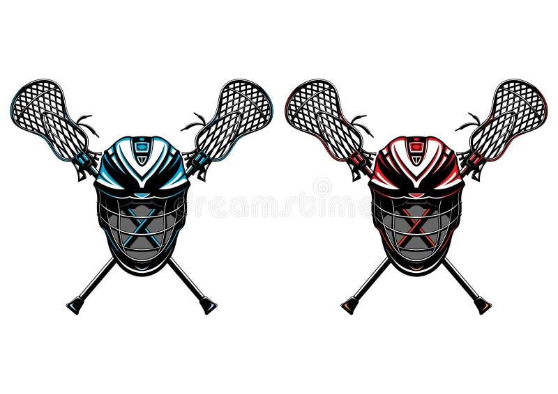 Caschi e bastoni di Lacrosse illustrazione di stock