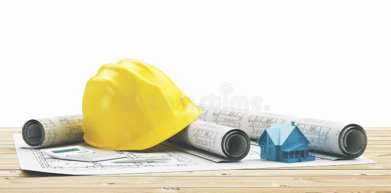 Casco amarillo con proyectos y la casa de edificio imagenes de archivo