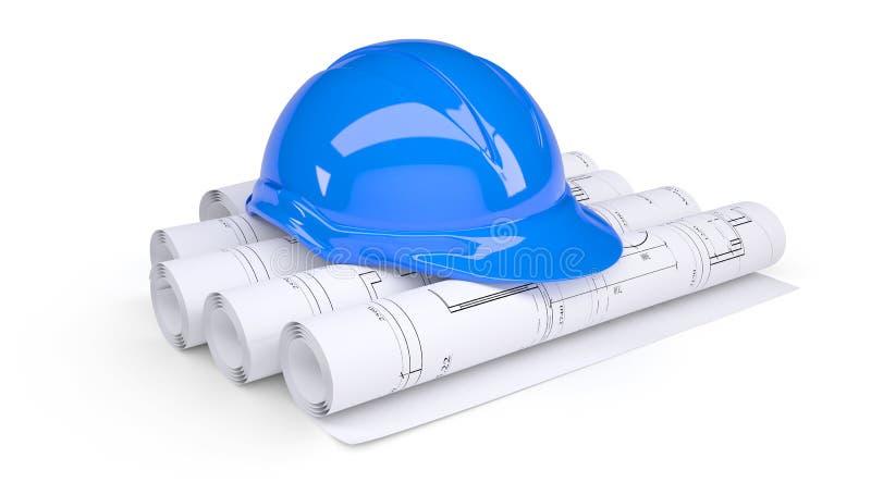Casco azul de la construcción en los rodillos de gráficos stock de ilustración