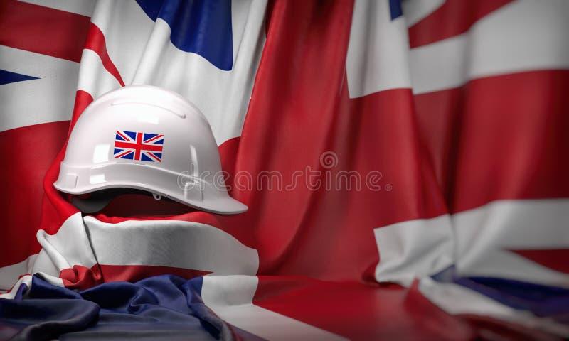 Casco bianco che pone sopra la bandiera BRITANNICA Costruzione ed occupazione nel concetto BRITANNICO del Regno Unito, festa del  illustrazione vettoriale