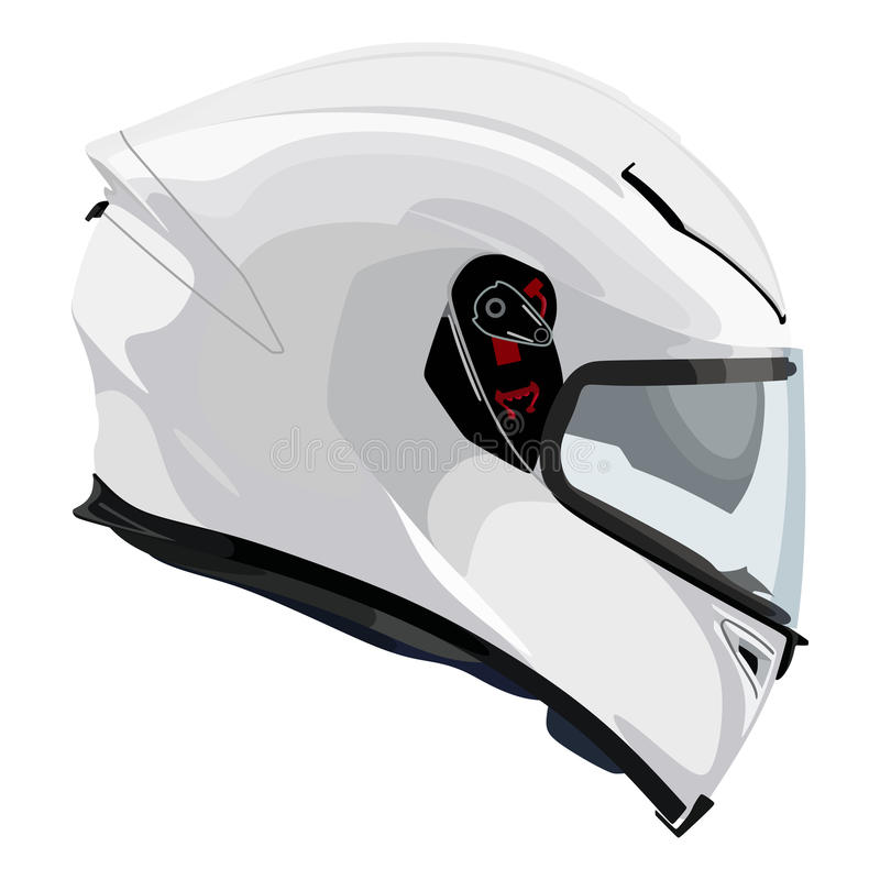 Casco bianco del motociclo illustrazione vettoriale