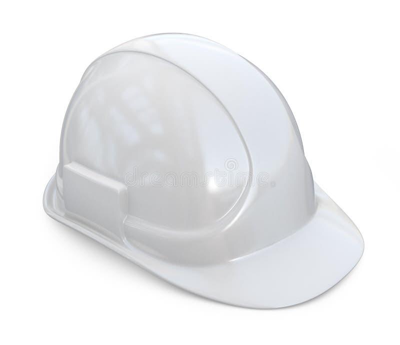 Casco bianco, elmetto protettivo icona 3D su bianco illustrazione vettoriale