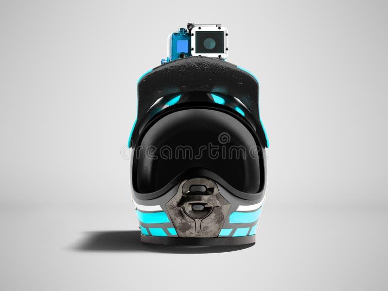 Casco blu moderno del motociclo con la macchina fotografica blu di azione nella parte anteriore 3 illustrazione vettoriale