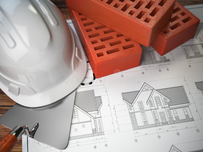 Casco, cazzuola e mattoni sui disegni con costruzione pl illustrazione di stock