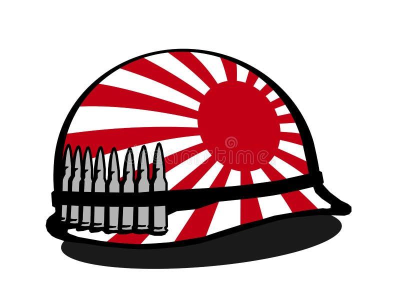Casco con la bandera y la bala japonesas de la guerra ilustración del vector