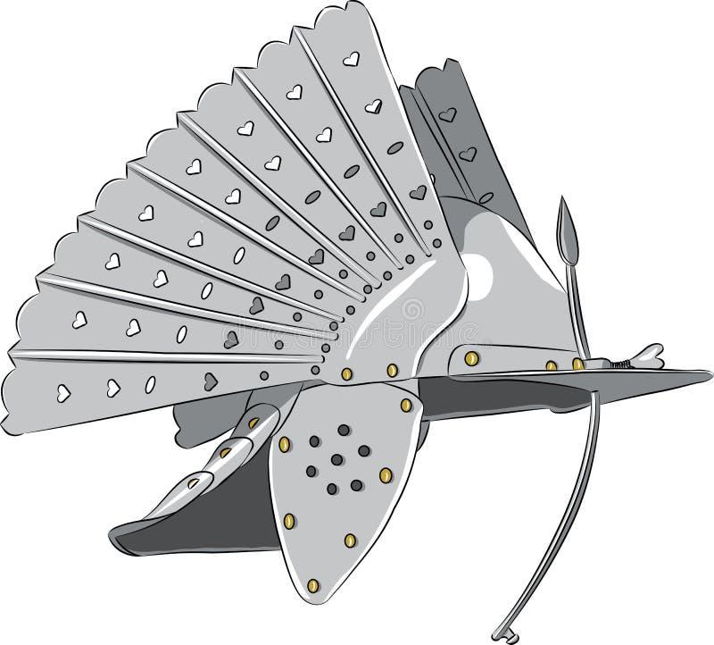 casco d'acciaio del cavaliere di vettore illustrazione di stock