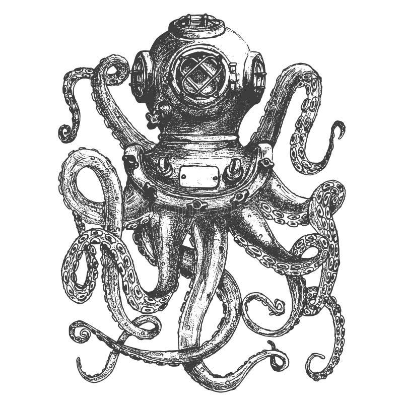 Casco d'annata dell'operatore subacqueo di stile con i tentacoli del polipo illustrazione vettoriale