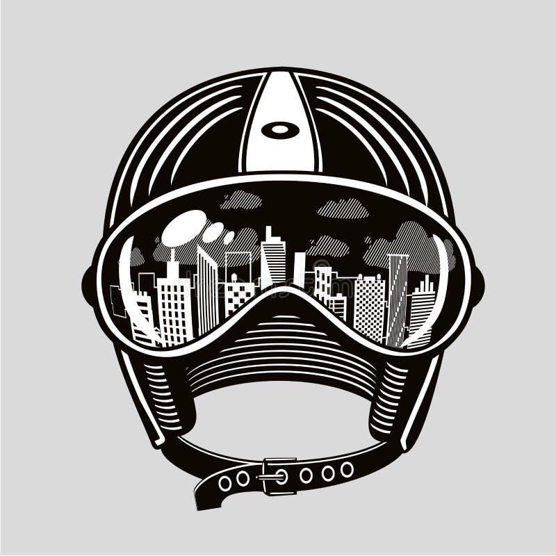 Casco d'annata di moto con la riflessione in vetri Protezione del motociclista Bici urbana della città, retro illustrazione di ve illustrazione di stock