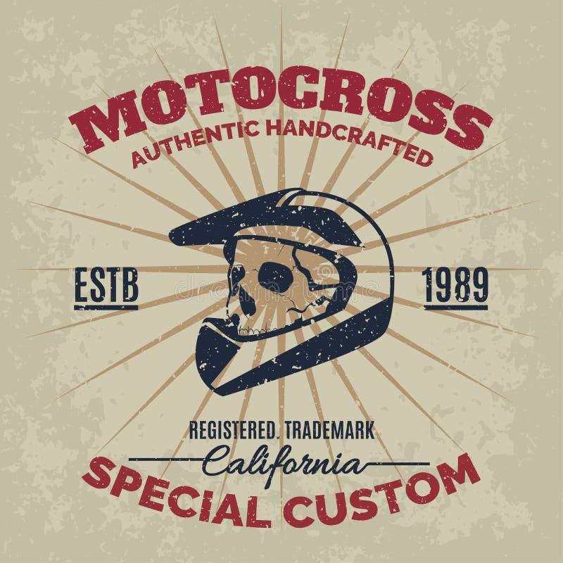 Casco d'annata di motocross con il cranio per la stampa con la struttura di lerciume royalty illustrazione gratis