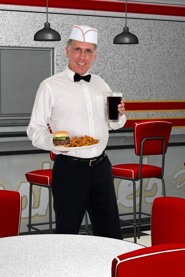 Casco das fritadas do hamburguer do alimento servido pelo empurrão de soda retro ilustração do vetor