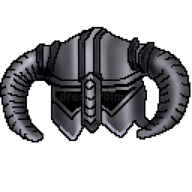 Casco de cuernos exhausto de vikingo del pedazo del pixel 8 ilustración del vector
