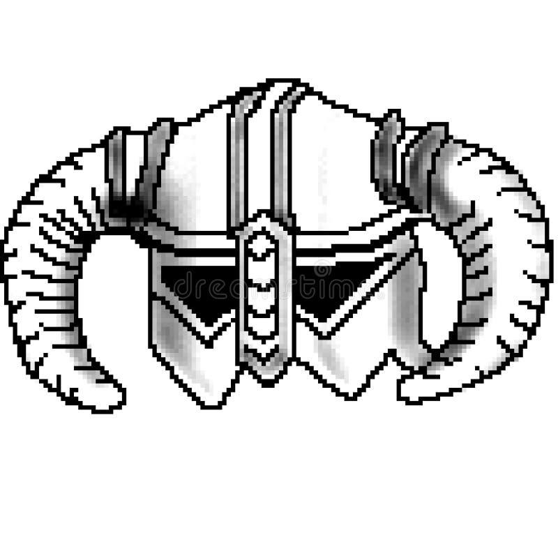 Casco de cuernos exhausto de vikingo del pedazo del pixel 8 stock de ilustración