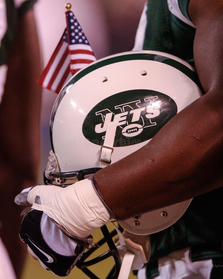Casco de fútbol americano de los New York Jets fotografía de archivo