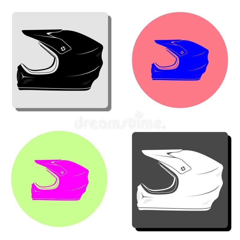 Casco de la motocicleta Icono plano del vector ilustración del vector