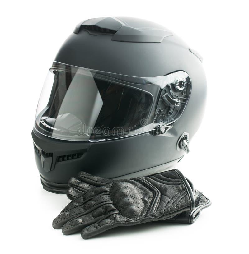 Casco de la motocicleta y guantes de cuero imagen de archivo libre de regalías