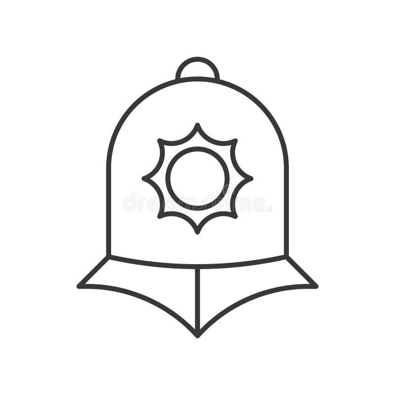 Casco de la policía de Inglaterra, stro editable del icono relacionado del esquema de la policía ilustración del vector