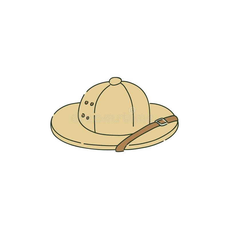 Casco de médula o sombrero colonial del safari en estilo del bosquejo ilustración del vector