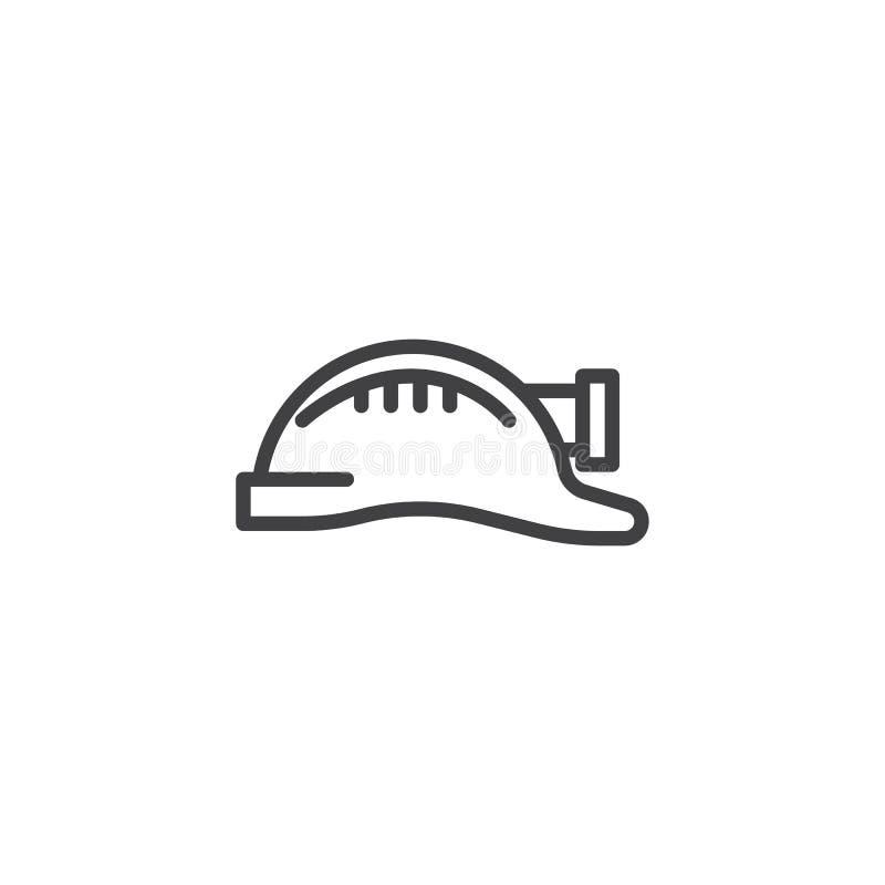Casco de minero con la l?nea icono de la linterna ilustración del vector