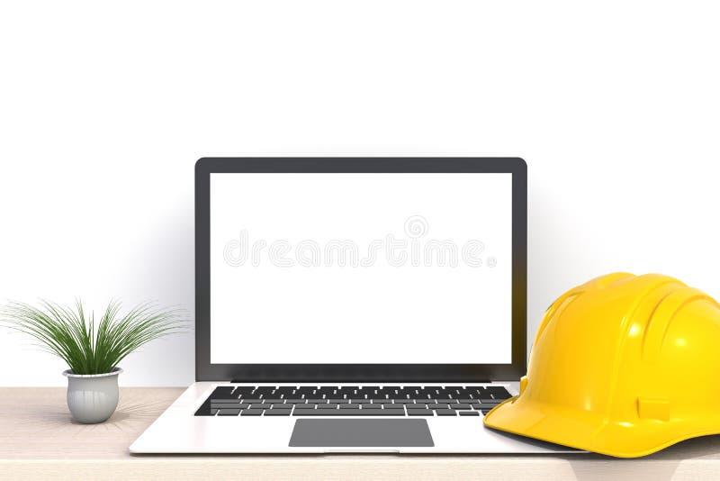 Casco de seguridad con la pantalla en blanco blanca del ordenador portátil en la vista delantera de madera de la tabla de trabajo ilustración del vector