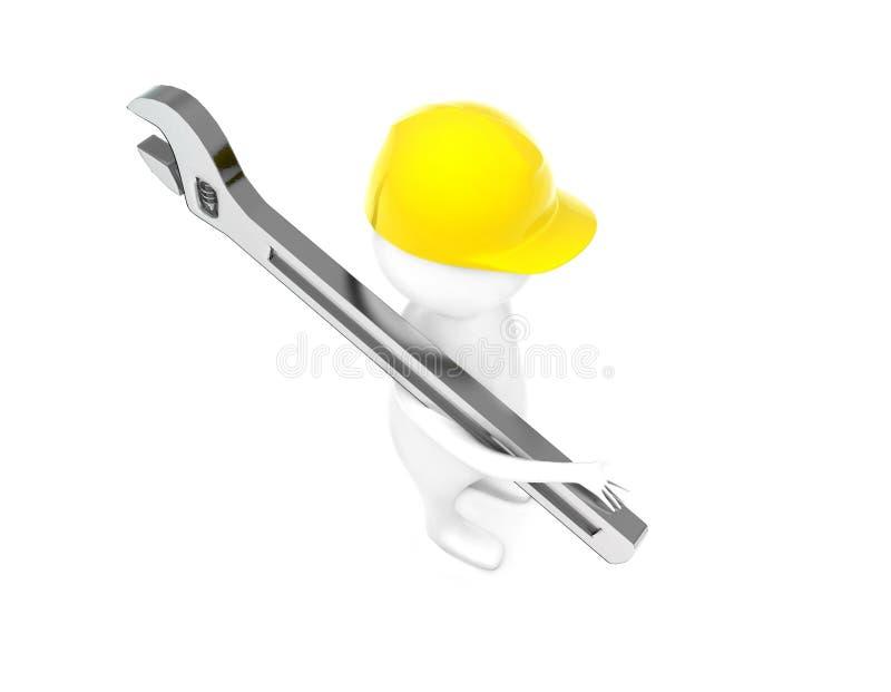 casco de seguridad del hombre que lleva 3d y sostener una llave sobre su hombro por su concepto de la mano stock de ilustración