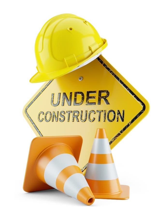 Casco de seguridad en conos del letrero y del tráfico y bajo construcción ilustración del vector