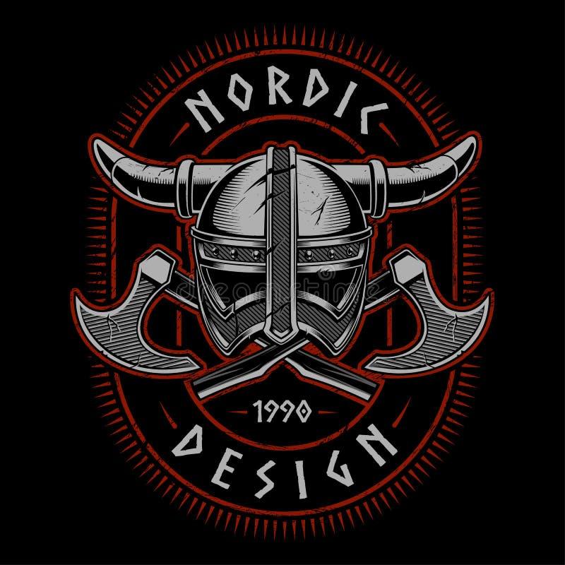 Casco de Viking con las hachas ilustración del vector