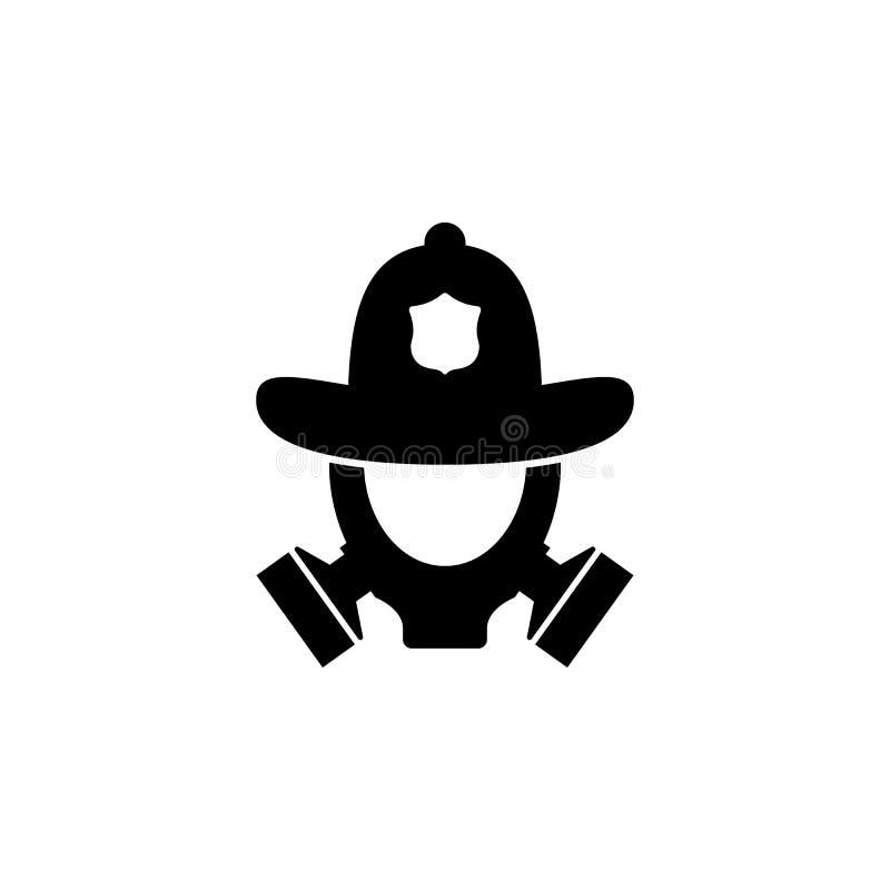 casco del fuego e icono de la careta antigás Elemento de la tienda del bombero para las muestras de publicidad, el concepto móvil stock de ilustración