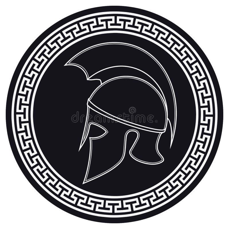 Casco del griego clásico con una cresta en el escudo en un Backg blanco ilustración del vector
