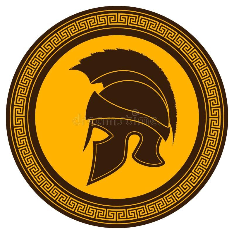 Casco del griego clásico con una cresta en el escudo en un Backg blanco libre illustration