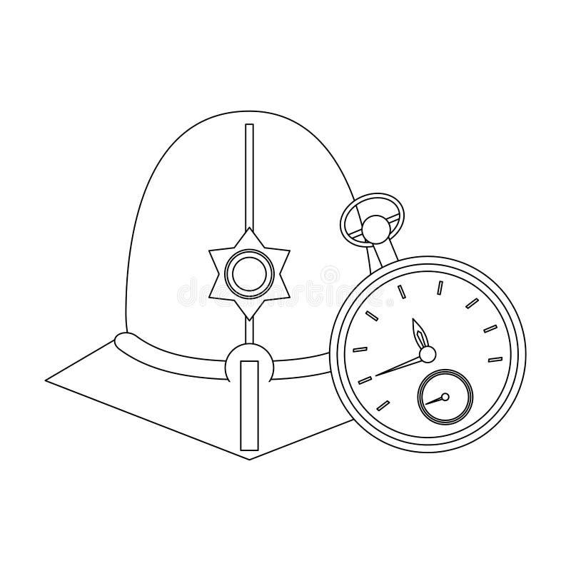 Casco del guardián de Londres en blanco y negro stock de ilustración