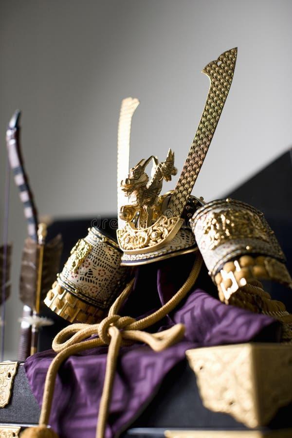 Casco del guerrero japonés imagen de archivo libre de regalías