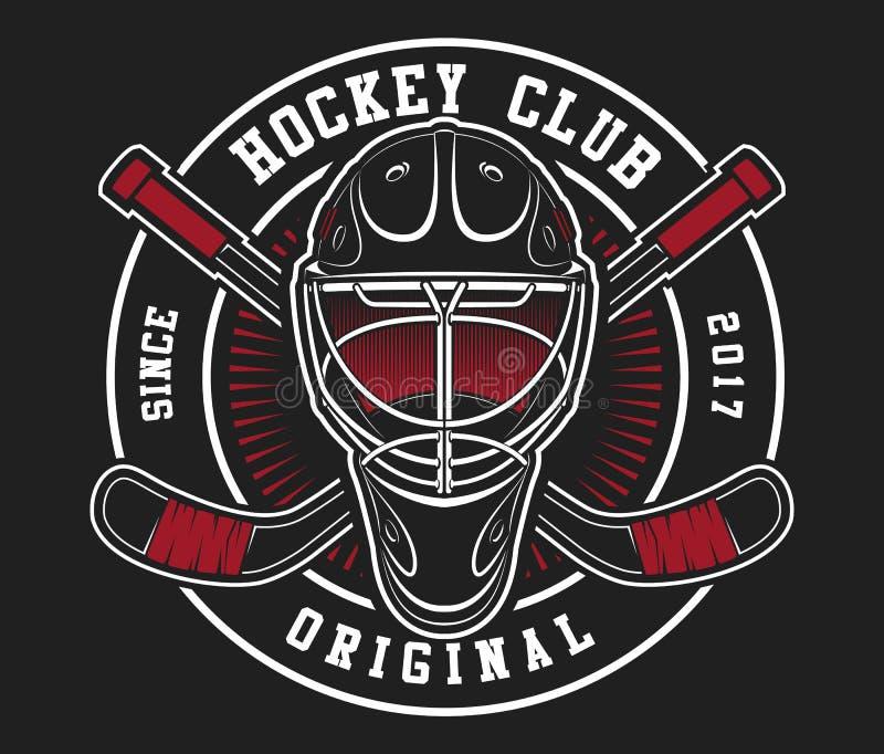 Casco del hockey con los palillos stock de ilustración