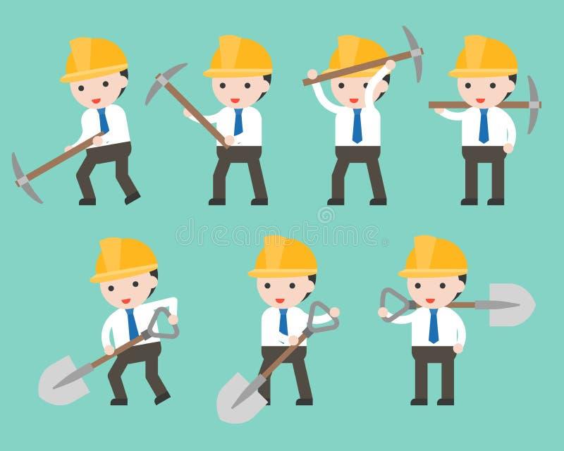 Casco del hombre de negocios y del trabajador que sostiene la pala y la piqueta en dif ilustración del vector