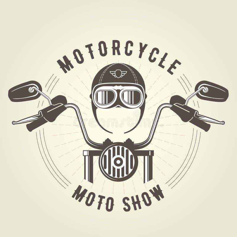 Casco del manillar del moto del interruptor y de la motocicleta del vintage ilustración del vector