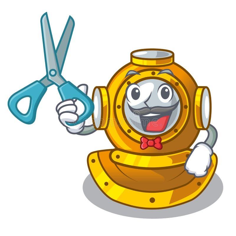 Casco del peluquero que se zambulle en la forma de la mascota stock de ilustración