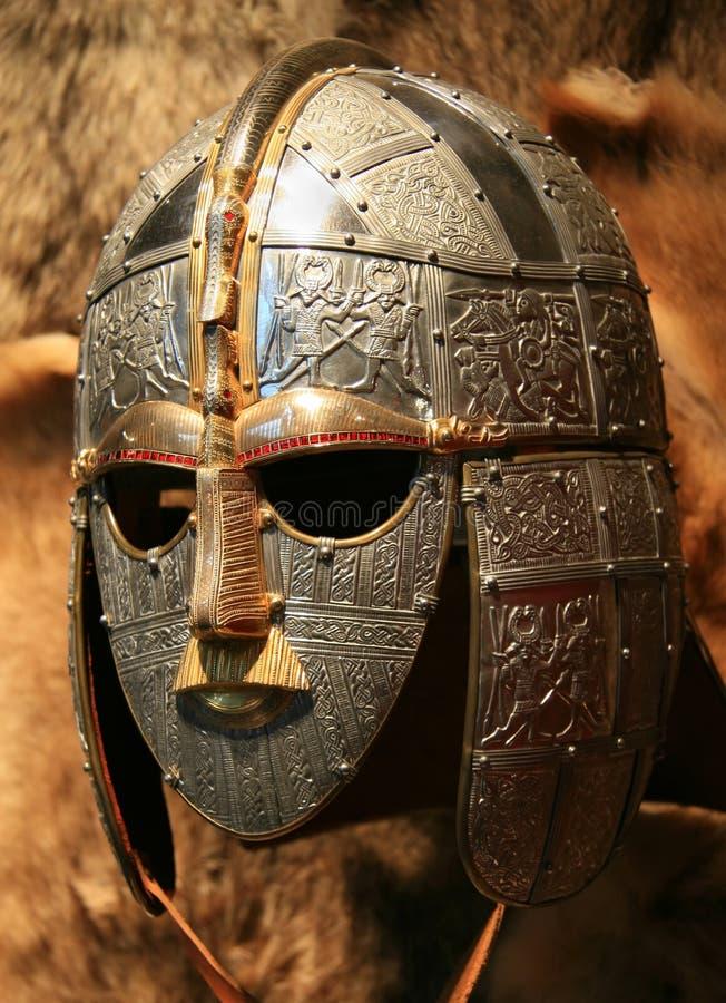 Casco del sajón de Sutton Hoo foto de archivo