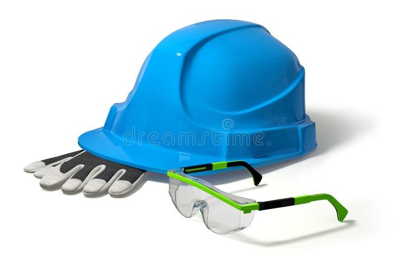 casco della costruzione dell'illustrazione 3d, guanti di lavoro, occhiali di protezione Isolato Blu e verde illustrazione di stock