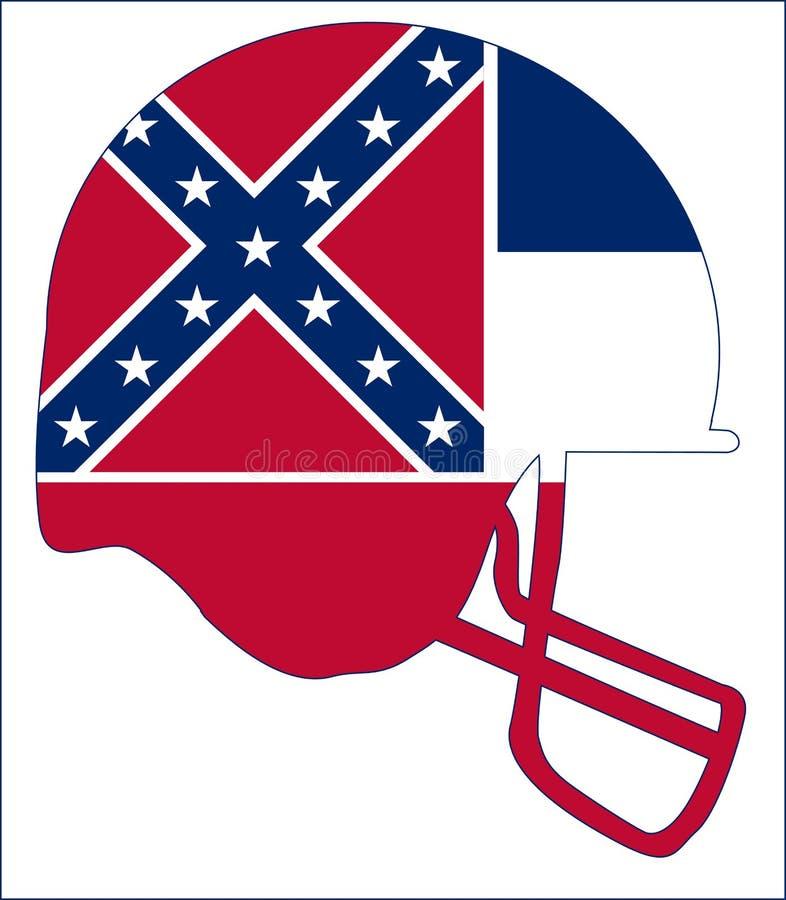 Casco di calcio della bandiera dello stato del Mississippi illustrazione di stock