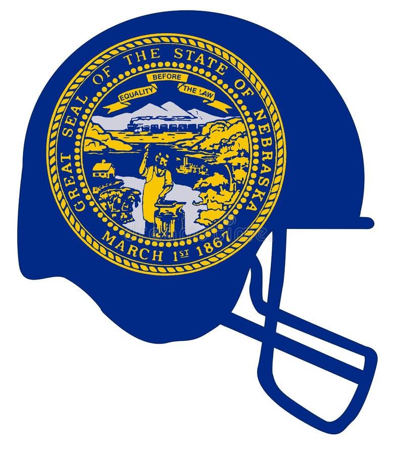 Casco di calcio della bandiera dello stato del Nebraska illustrazione vettoriale