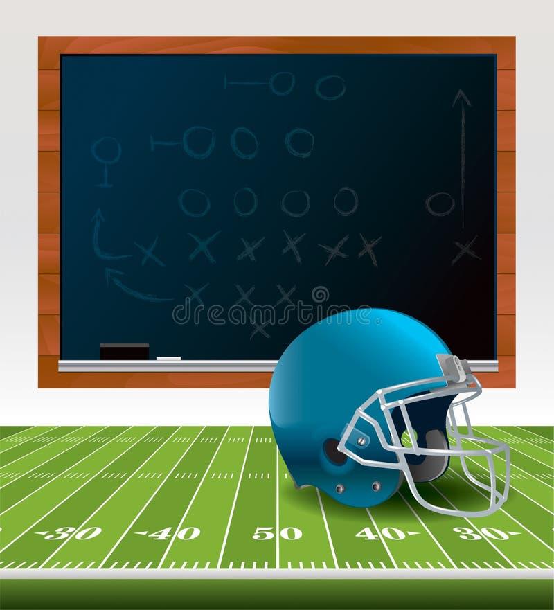 Casco di football americano e lavagna illustrazione vettoriale