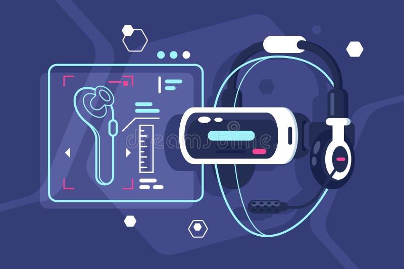 Casco di realtà virtuale con il regolatore, le cuffie ed il microfono illustrazione vettoriale