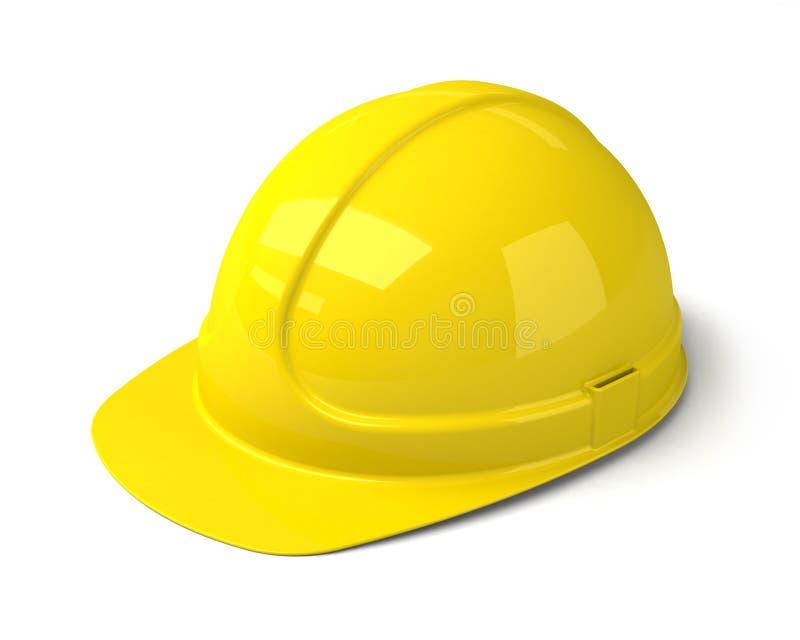 Casco di sicurezza giallo sui precedenti bianchi illustrazione di stock