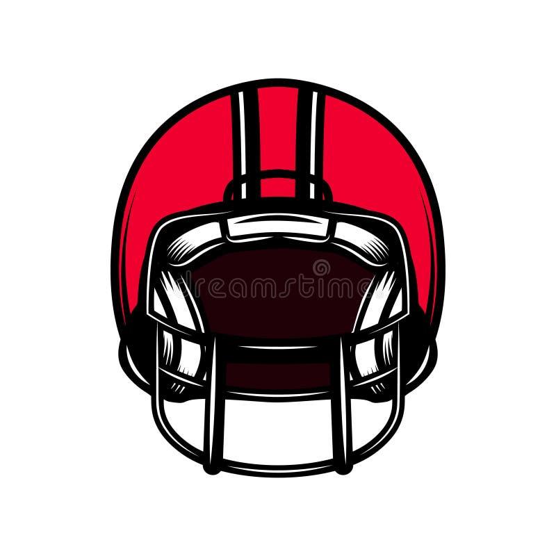 Casco di sport di football americano isolato su fondo bianco Elemento di progettazione per l'emblema, segno, manifesto, distintiv royalty illustrazione gratis