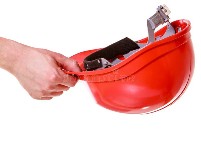 Casco a disposición del trabajador de construcción. Seguridad. imagenes de archivo