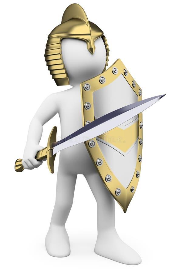 gente bianca 3D. Cavaliere con il casco e lo schermo della spada illustrazione di stock